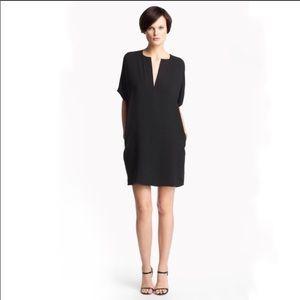 VINCE Trapunto silk black shift dress  LARGE